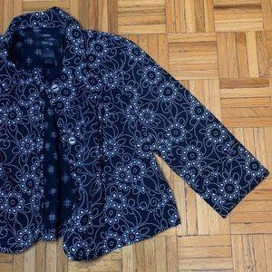 PETITE Style & Co Floral Suit Jacket Black White